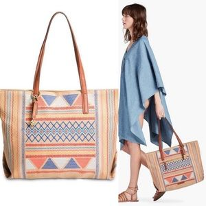 Lucky Brand Woven Tribal Embroidered Cassis Tote